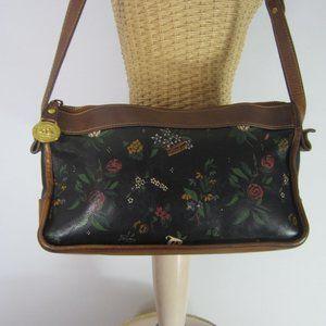 Vintage Brahmin Floral Leather Shoulder Bag Rare